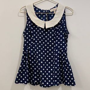 Monteau Polka Dot Collared Shirt with side zip